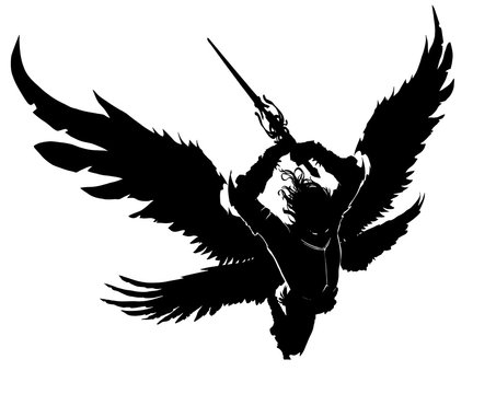 An angel with a two-handed sword breaks into battle preparing to make a mighty blow. He has 4 wings. View from above. 2d illustration.