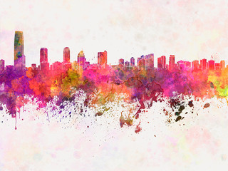 Wall Mural - Jersey City skyline in watercolor background