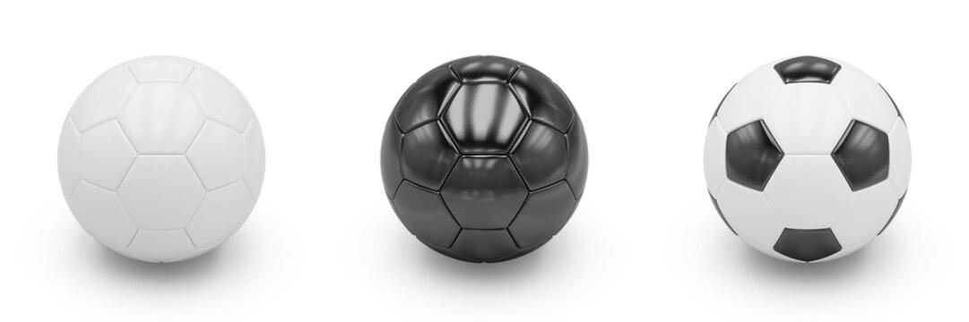 3D rendering Set of Soccer Balls on white background