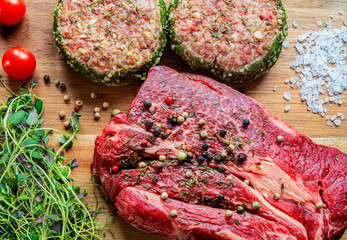 Barbecue Rib Eye Steak, Entrecote, close up