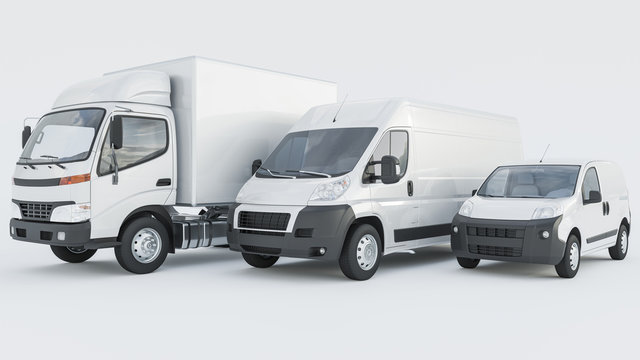 White Box Truck with Delivery Vans in a Row on White Background 3D Rendering