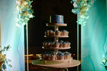 Candy bar served with blueberry cake and tower of cupcakes on round table at night, copy space. Dessert table for party. Holiday or birthday concept