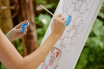 Girl or female artist with easel and paint brush painting balloons outdoors, copy space. Creativity...