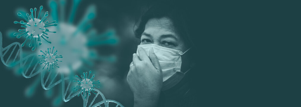 Covid-19 or Coronavirus concept.Senior old woman wearing protect mask for protect quarantine and coughing with Covid-19 virus outbreak in India.Indian old woman Lung infection.Epidemic virus symptoms.