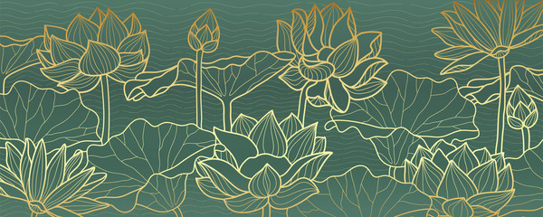lotus line arts luxury wallpaper design for fabric, prints and background texture, Vector illustration.