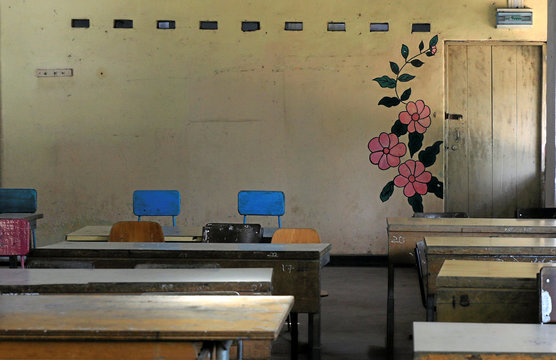 Empty classroom is seen at a school after the government issued an order to close all the schools in the country in Colombo