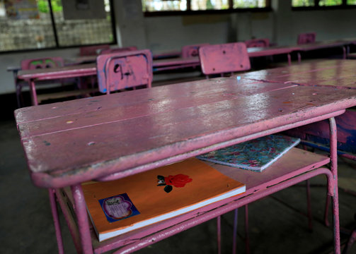 Empty classroom is seen after the government issued an order to close all the schools in the country in Colombo