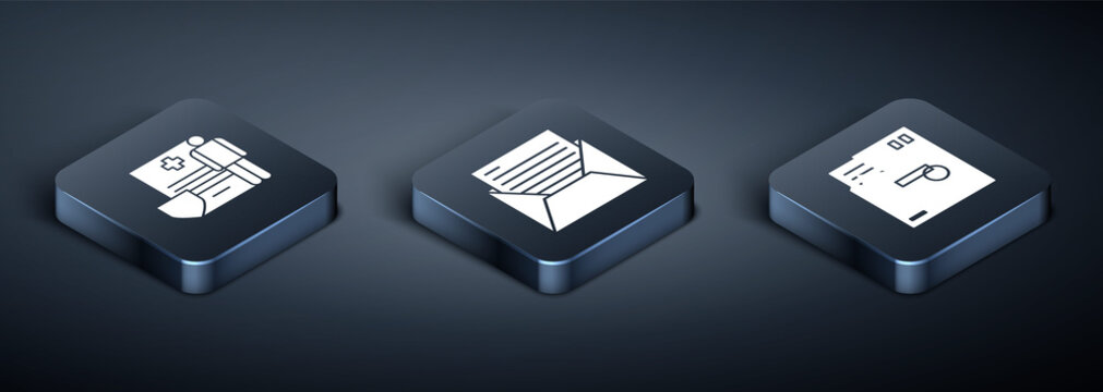 Set Isometric Medical clipboard with clinical record, Ordered envelope and Mail and e-mail icon. Vector