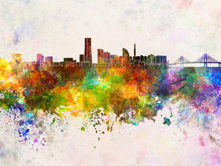 Wall Mural - Yokohama skyline in watercolor background