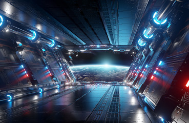 Blue and red futuristic spaceship interior with window view on planet Earth 3d rendering Wall mural