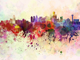 Fotomurales - Dallas skyline in watercolor background