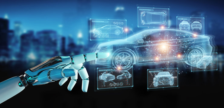 Robot hand holding and touching holographic smart car interface projection 3D rendering