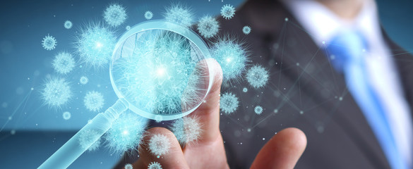 Man analyzing holographic cell projection through magnifying glass 3D rendering