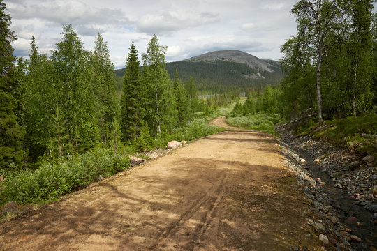 Scenic gravel road through the beautiful view of Finnish Lapland forest with a peak of the fell on the background in Ylläs hiking area in Finland.