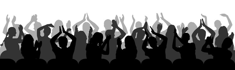 Silhouettes of applauding spectators in chairs. Crowd of people. Vector illustration Wall mural