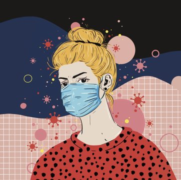Illustration of woman wearing mask to protect from coronavirus