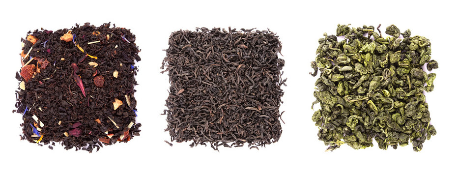 Mix of tea leaves isolated on white background