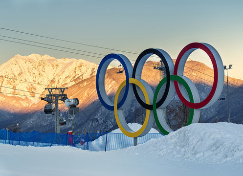 SOCHI, RUSSIA - JAN 24, 2017: Olympic rings as a symbol of the winter Olympic games in Sochi 2014, installed in the winter resort of Krasnaya Polyana