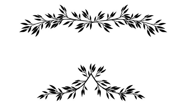 Black silhouette frame top and bottom hand drawn tree branches with leaves and berries botanical flowers floral hand drawn scandinavian style art design element flat vector illustration