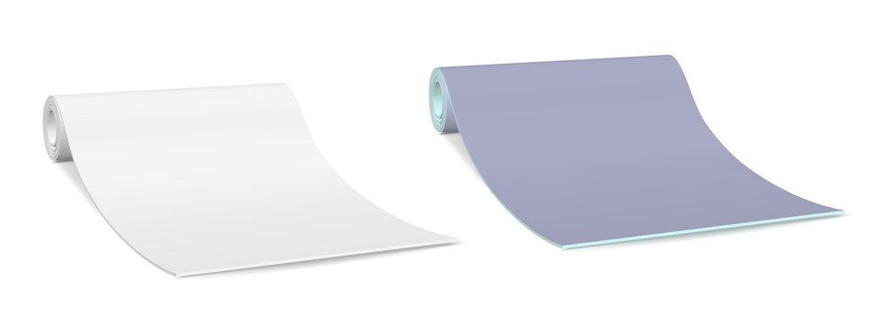 Blue yoga mat. Fitness equipment
