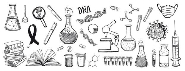 Laboratory research vector hand drawn icons set. Coronavirus, dna, blood test.
