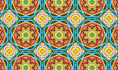 Red kaleidoscope sequence patterns. 4k Abstract multicolored motion graphics background. Or for yoga, clubs, shows, mandala, fractal animation. Beautiful bright ornament. Seamless loop. Wall mural