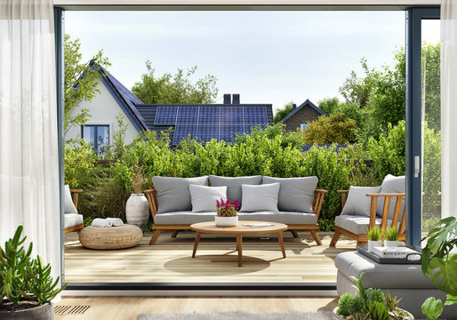 Rooftop patio with sliding doors and house with solar panels