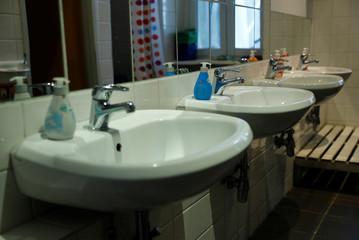 Sinks are pictured at German-Italian language Kindergarten Asilo Italiano in Berlin