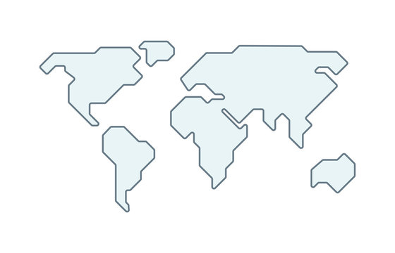 World vector map. Earth planet simple stylized continents silhouette, minimal simplified line contour.
