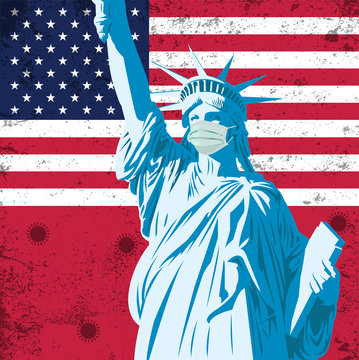Vector Illustration of Covid-19 background with The Statue of Liberty with medical mask and USA flag