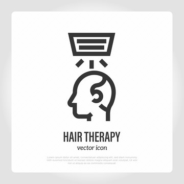 Low level laser therapy for hair loss and regrowth. Thin line icon. Medical treatment: hair therapy for alopecia. Healthcare vector illustration.