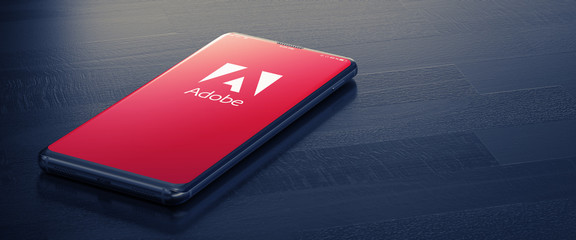 Adobe on Smartphone Screen. 3D. KYIV, UKRAINE-JANUARY, 2020.