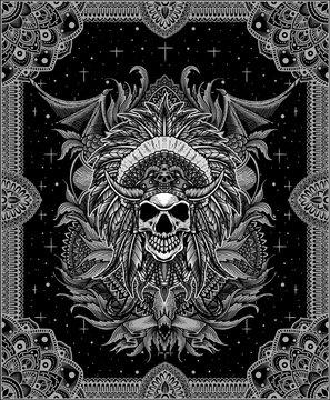 Indiana Apache skull tribal vector illustration design.