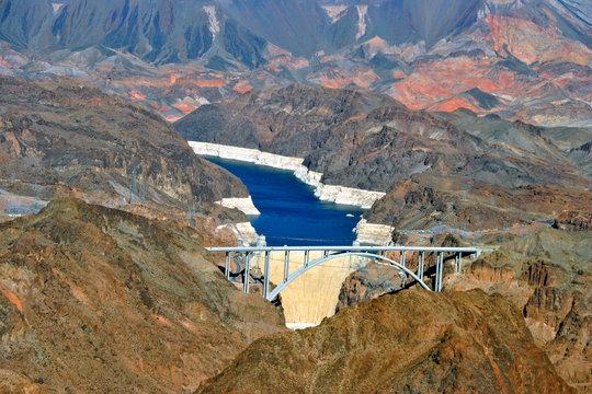 The Hoover Dam and Pat Tillman Bridge Bypass on border of Arizona AZ Nevada Nv, USA, North America