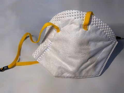 N 95 mask used for protection from viruses like corona virus. Doctor mask and corona virus protection mask isolated on a white background.