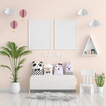 Two photo frame for mockup in living room, 3D rendering