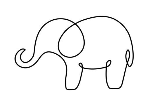 one line drawing art elephant logo style. mono line elephant logo. simple and modern style. continuous line elephant