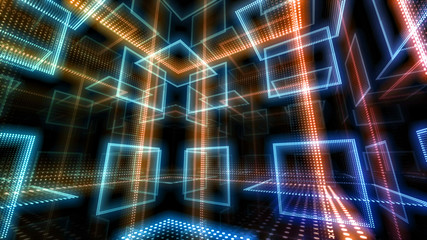 Disco club space illumination neon light room floor wall 3D illustration abstract background Fototapete