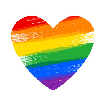 Heart in rainbow LGBT flag colors - paint style vector illustration.