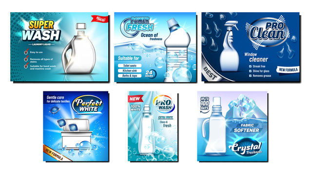 Detergent, Bleach Advertising Banners Set Vector. Different Bottle And Atomizer Spray, Container And Box For Cleaning Substance, Iceberg And Soap Bubbles. Concept Template Realistic 3d Illustrations