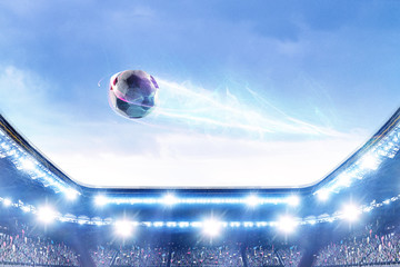 Football stadium background with flying ball
