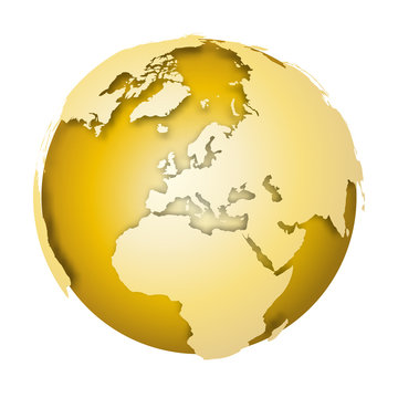 Earth globe. 3D world map with metallic lands dropping shadows on gold surface. Vector illustration