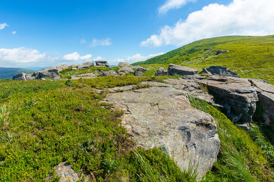 rocks on the alpine hillside meadow. great summer nature scenery. green grass on the hills and fluffy clouds on the blue sky. wonderful mountain landscape of carpathians