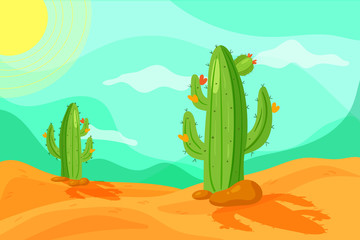 Papiers peints Vert corail Seamless Wild West desert landscape background for game in cartoon style. Cartoon desert with cacti.