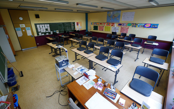 Empty classroom in Bonn amid authorities' discussions whether schools should be closed nationwide due to the coronavirus disease (COVID-19)