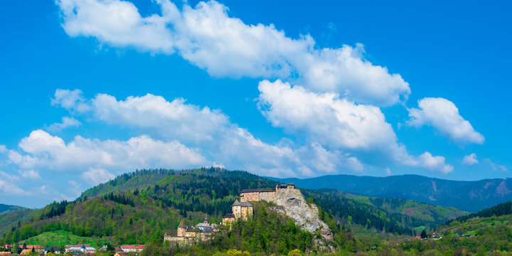 panoram of an Orava Castle on the high steep rock. one of the most beautiful medieval fortress in Slovakia. popular travel destination. beautiful sunny day