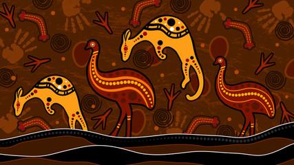 Animal aboriginal art vector painting