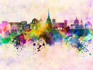 Wall Mural - Turin skyline in watercolor background