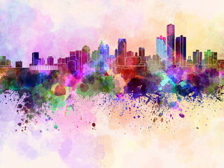 Wall Mural - Detroit skyline in watercolor background