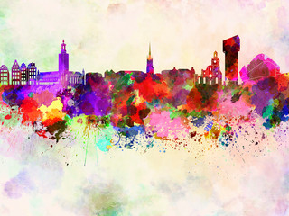 Wall Mural - Stockholm skyline in watercolor background